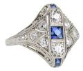 Dramatic Art Deco Sapphire Diamond Ring