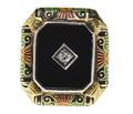 Art Deco Onyx Diamond Enamel Ring