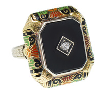 Art Deco Onyx Diamond Enamel Ring