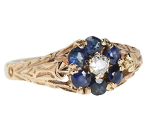 Flower Sapphire Diamond Ring