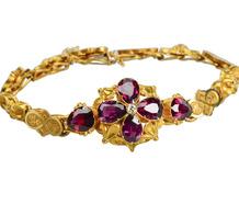 Antique Victorian Garnet Bracelet in Box