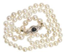 Classic Pearls & Sapphire Diamond Clasp