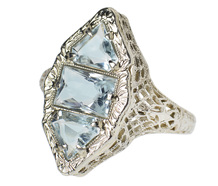 Art Deco Aquamarine Marquise Filigree Ring