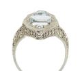 Art Deco Aquamarine Marquise Filigree Ring