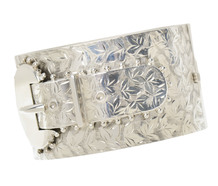 Wide Victorian Buckle Bracelet in Silver