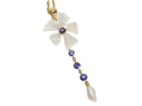 Art Nouveau Sapphire Pearl Pendant & Chain