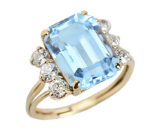 Retro-ific Blue Topaz Diamond Ring