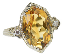 Art Deco Citrine Filigree Ring