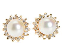 Cultured Pearl Frilled Diamond Earrings