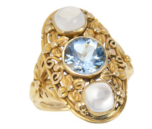 Art Nouveau Aquamarine Moonstone Ring