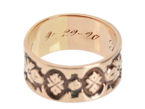 Victorian Engraved & Dated 1890 Wedding Band