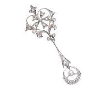 Vintage Flower Crescent Moon Diamond Pendant