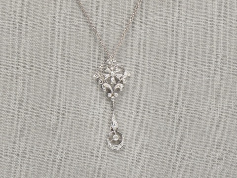 Vintage Flower Crescent Moon Diamond Pendant