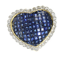 Invisibly Set Sapphire Estate Diamond Heart