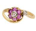 Vintage Ruby Flower Diamond Ring