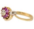 Vintage Ruby Flower Diamond Ring