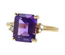 Amethyst Diamond Estate Ring