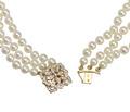 Triple Strand of Pearls & Diamond Clasp