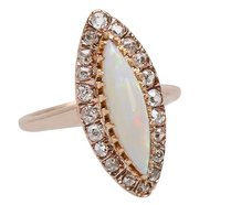 Edwardian Kiss – Opal Diamond Halo Ring