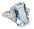 Spectacular Aquamarine Filigree Ring