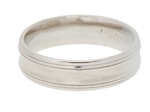 ArtCarved Man's Palladium Estate Wedding Ring