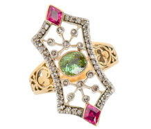 French Flair - Emerald Ruby Diamond Ring