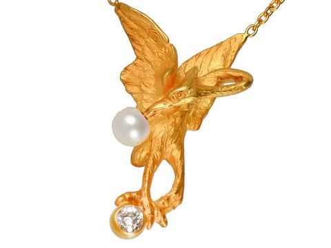 Art Nouveau Pearl Diamond Swan Necklace