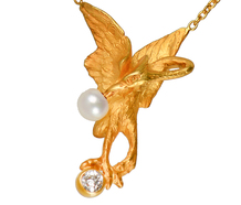 Art Nouveau Pearl Diamond Swan Necklace