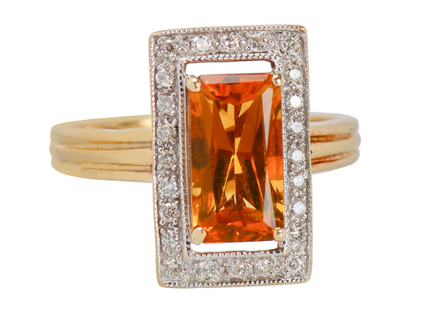 Ember Glow - Citrine Diamond Halo Ring