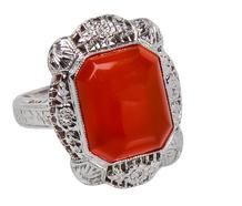 Fancy Art Deco Carnelian Ring
