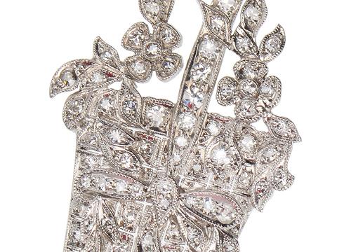 Edwardian Diamond Flower Basket Pendant