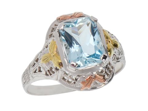 Unique Art Deco Aquamarine Ring