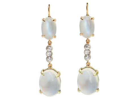 Edwardian Blue Moonstone Diamond Earrings