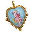 Fairy Dust - Antique Enamel Heart Pendant
