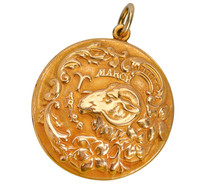 Antique Aries Zodiac Gold Pendant - Sloan & Co.