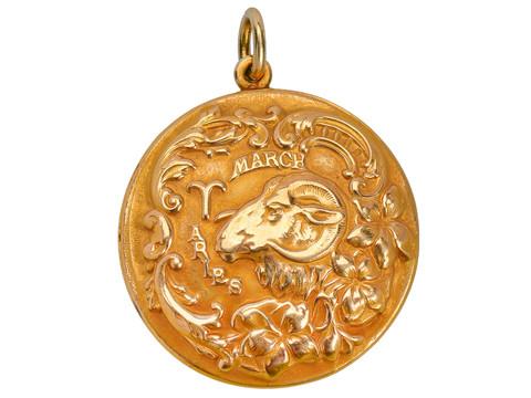 Antique Aries Zodiac Gold Pendant - Sloan & Co.