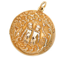 Art Nouveau Antique Gemini Gold Locket
