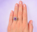Vintage Pink Sapphire Double Halo Ring