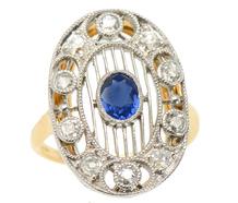 Airy Artistry - Edwardian Sapphire Diamond Ring