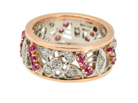 Strikingly Retro Diamond Ruby Wedding Band
