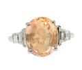 Exceptional No Heat Orange Sapphire Ring