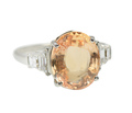 Exceptional No Heat Orange Sapphire Ring