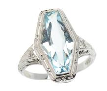 Art Deco Fancy Filigree Aquamarine Ring