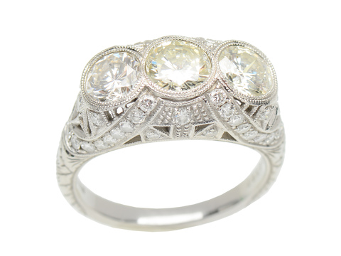 Outstanding Three Stone Diamond Ring