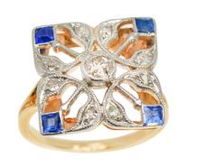 Art Deco Diamond Sapphire Floral Ring