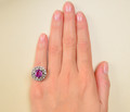 Pinkalicious – No Heat Sapphire Halo Ring
