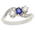 Inspired Crossover Sapphire Diamond Ring