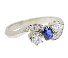 Inspired Crossover Sapphire Diamond Ring