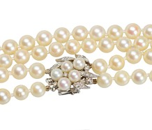 Vintage Cultured Pearls & Diamond Clasp