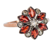 Garnet Flower Star Ring with Diamonds